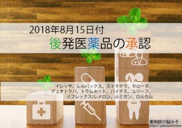 平成30年8月15日に承認されたジェネリック医薬品【トラムセット、リフレックス/レメロン、ユリーフ、ストラテラ】