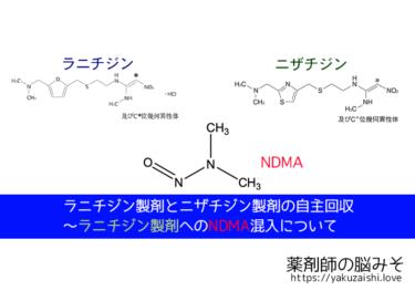 ラニチジン製剤(ザンタック®︎等)の自主回収〜NDMAの検出